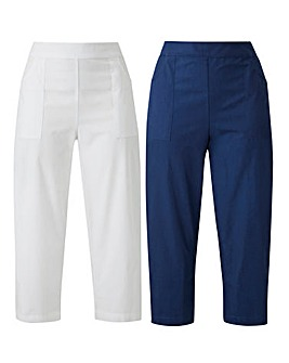 White/Navy Pack of 2 Woven Trousers