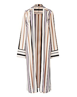 Petite Striped Crepe Longline Jacket