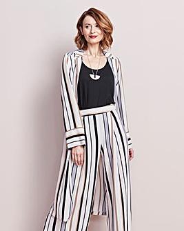 Striped Crepe Longline Jacket