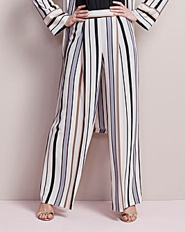 Striped Crepe Wide Leg Trouser