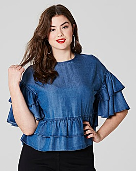 Simply Be Denim Ruffle Blouse