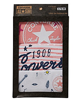 Baby Converse Pack of 3 Romper Set