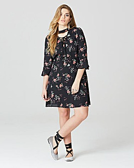 Simply Be Floral Lace Up Front Dress