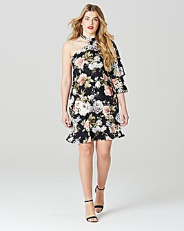 Simply Be One Shoulder Ruffle Dress
