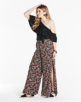 Simply Be Side Split Ditzy Print Trouser