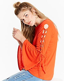 Simply Be Fluted Lace Up Sleeve Top