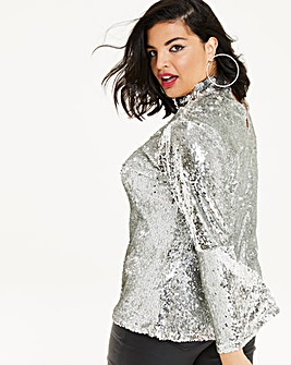 Simply Be Sequin Fluted Sleeve Blouse