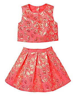 KD Girls Brocade Top and Skirt Set