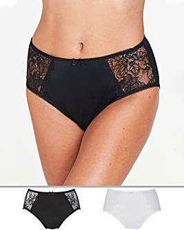Pretty Secrets 2Pack Ella Lace Black/White Briefs