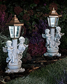 Solar Powered Cherub Post Light