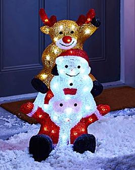 Acrylic Santa, Snowman, and Reindeer