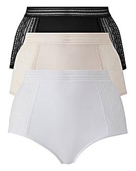 3Pk Lace Panel Black/White/Blush Full