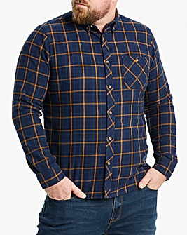 Fenchurch Melton Navy Check Shirt Reg