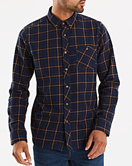 Fenchurch Melton Navy Check Shirt Long