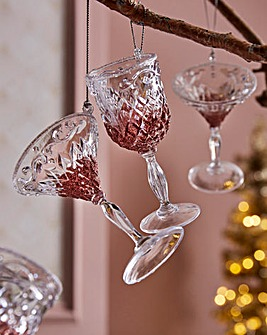 Set of 4 Rose Gold Tree Decorations