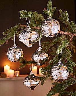 Set of 6 Sequin Tree Decorations