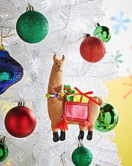 Set of 6 Felt Llama Tree Decorations