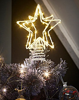 Glitter Star Prelit Tree Topper