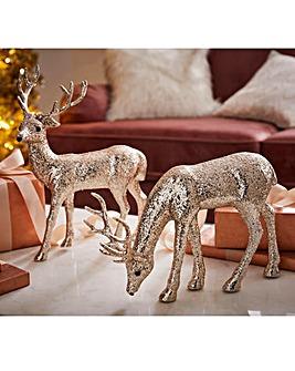 Set of 2 Standing and Grazing Reindeers