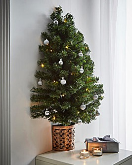 Prelit Half Wall Tree in Basket