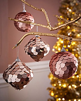 Set of 6 Sequin Tree Decorations