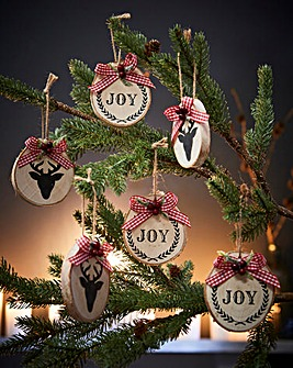 Set of 6 Wooden Tree Decorations