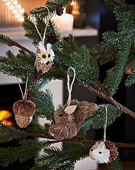 Set of 4 Woodland Tree Decorations