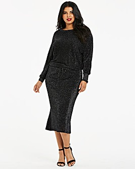 Black Metallic Batwing Knitted Dress