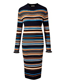 Oasis Curve Knitted Stripe Dress