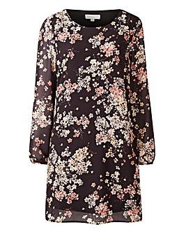 Apricot Floral Print Shift Dress