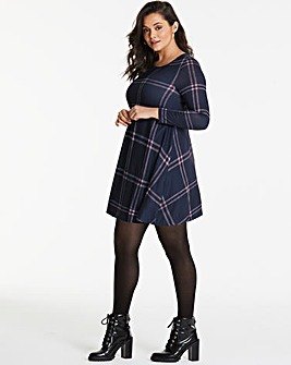 Apricot Check Print Swing Dress