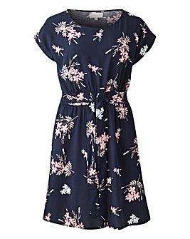 Apricot Floral Print Dress