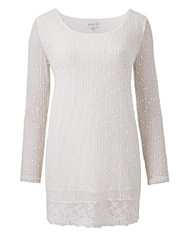 Apricot Sequin Knit Top