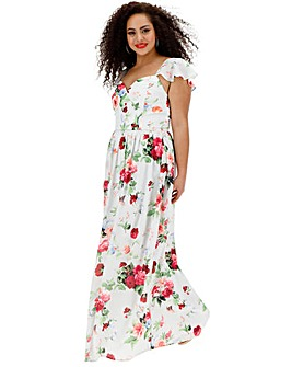 Chi Chi London Floral Sweetheart Neckline Maxi Dress