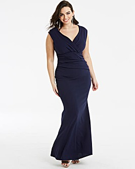Quiz Curve Navy Wrap Maxi Dress