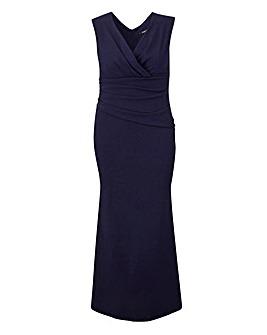 Quiz Curve Navy Wrap Maxi Dress