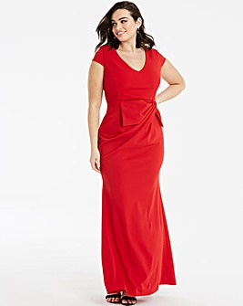 Quiz Curve Red Wrap Maxi Dress