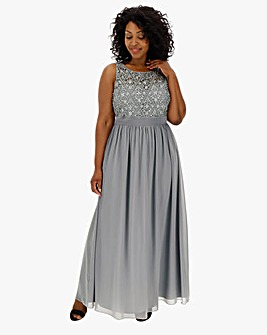 Quiz Curve Grey Embelished Dress