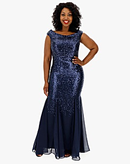 Quiz Curve Navy All Over Sequin Dress