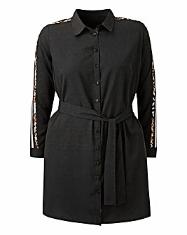 AX Paris LeopardStripe Tunic Shirt Dress