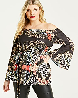 AX Paris Mixed Print Bardot Blouse