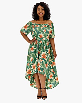 Lovedrobe Tropical Print Bardot Maxi Dress