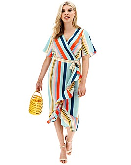Lovedrobe Striped Ruffle Wrap Dress