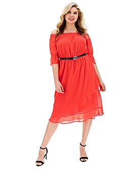 Lovedrobe Double Layer Bardot Midi Dress