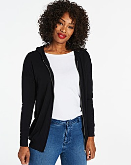 Black Hooded Sportive Cardigan