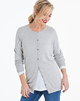 Light Grey Marl Crew Neck Cardigan