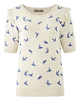 Oasis Curve Julianna Bird Print Jumper