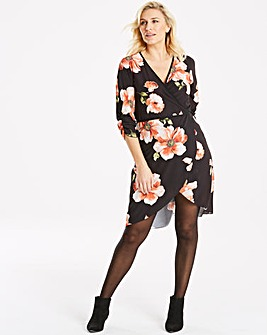 Quiz Long Black Floral Sleeve Wrap Dress