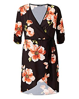 Quiz Long Black Floral Sleeve Wrap Dress
