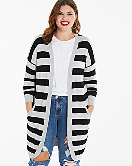 Black/Grey Stripe Kangaroo Cardigan